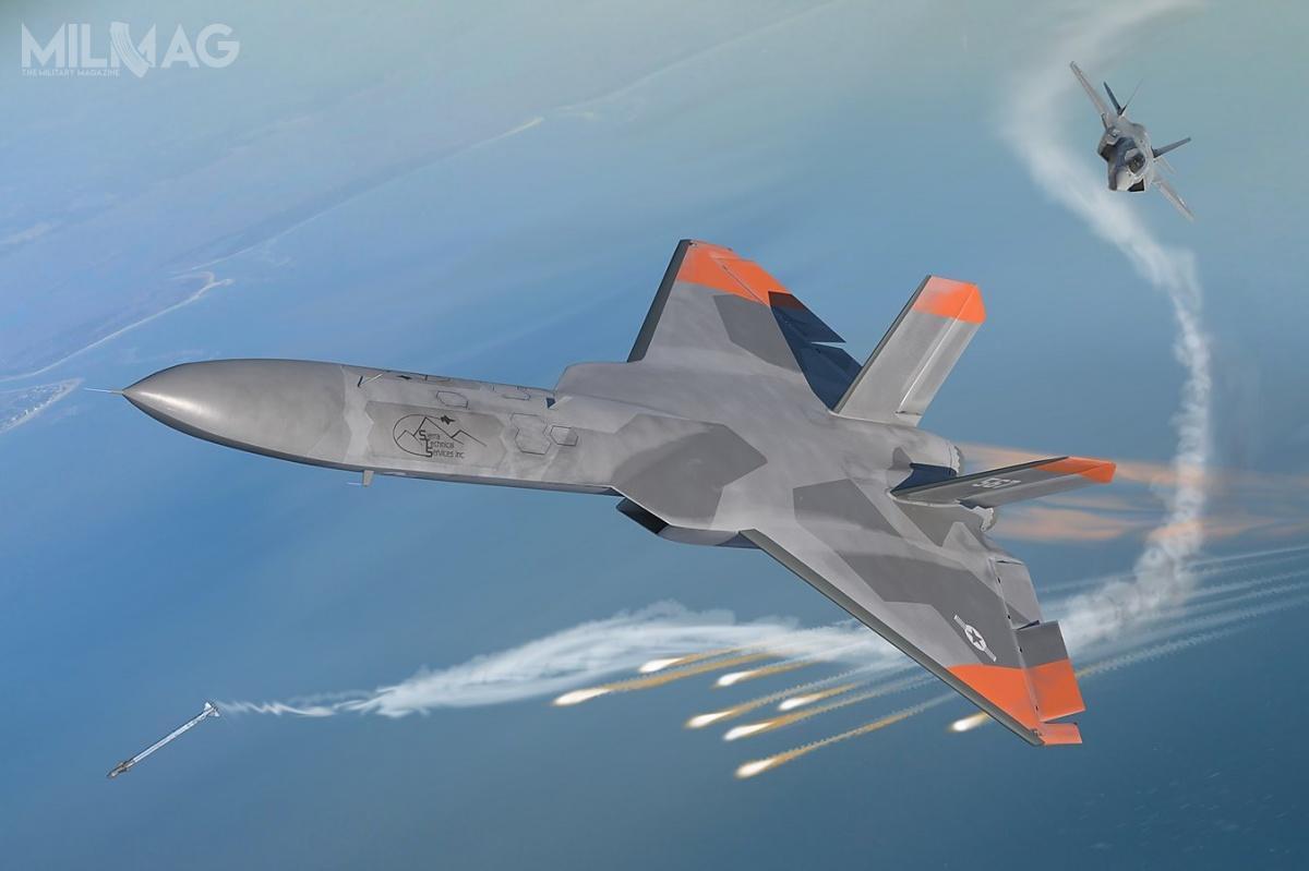 5GAT może zostać wykorzystany doszkolenia amerykańskich pilotów wwalce przeciwko trudnowykrywalnym samolotom wielozadaniowym, takim jak chińskie J-20 czyrosyjskie Su-57. Jest totańsze rozwiązanie, niż przebudowa załogowych samolotów dotejroli / Zdjęcie igrafika: Sierra Technical Services