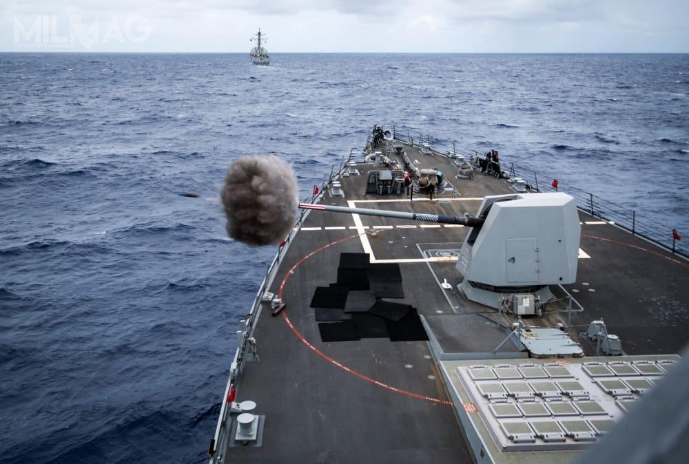 Podczas ćwiczeń RIMPAC 2018 oddano dwadzieścia strzałów pociskami hipersonicznymi HPV (Hyper Velocity Projectile). Nowa amunicja była testowana napokładzie niszczyciela rakietowego USS Dewey (DDG-105) / Zdjęcie: US Navy