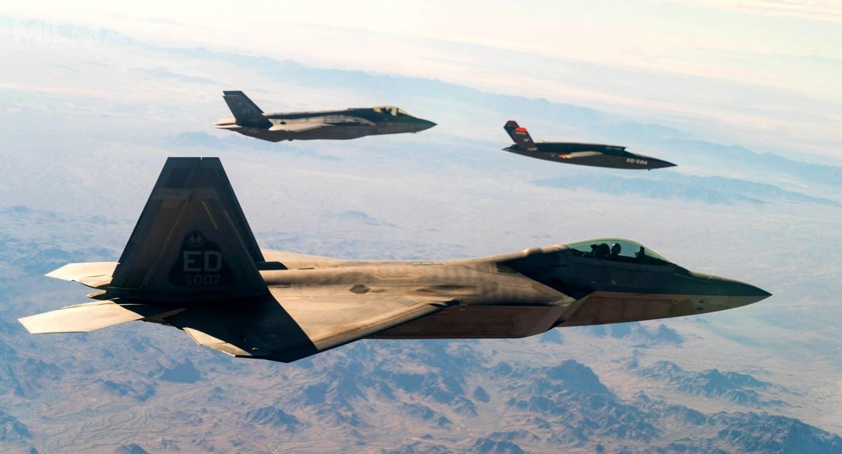 Amerykańskie siły zbrojne przeprowadziły udaną próbę przekaźnika danych gatewayONE zainstalowanego nabezzałogowcu XQ-58A Valkyrie dobezpiecznej łączności pomiędzy F-22 iF-35