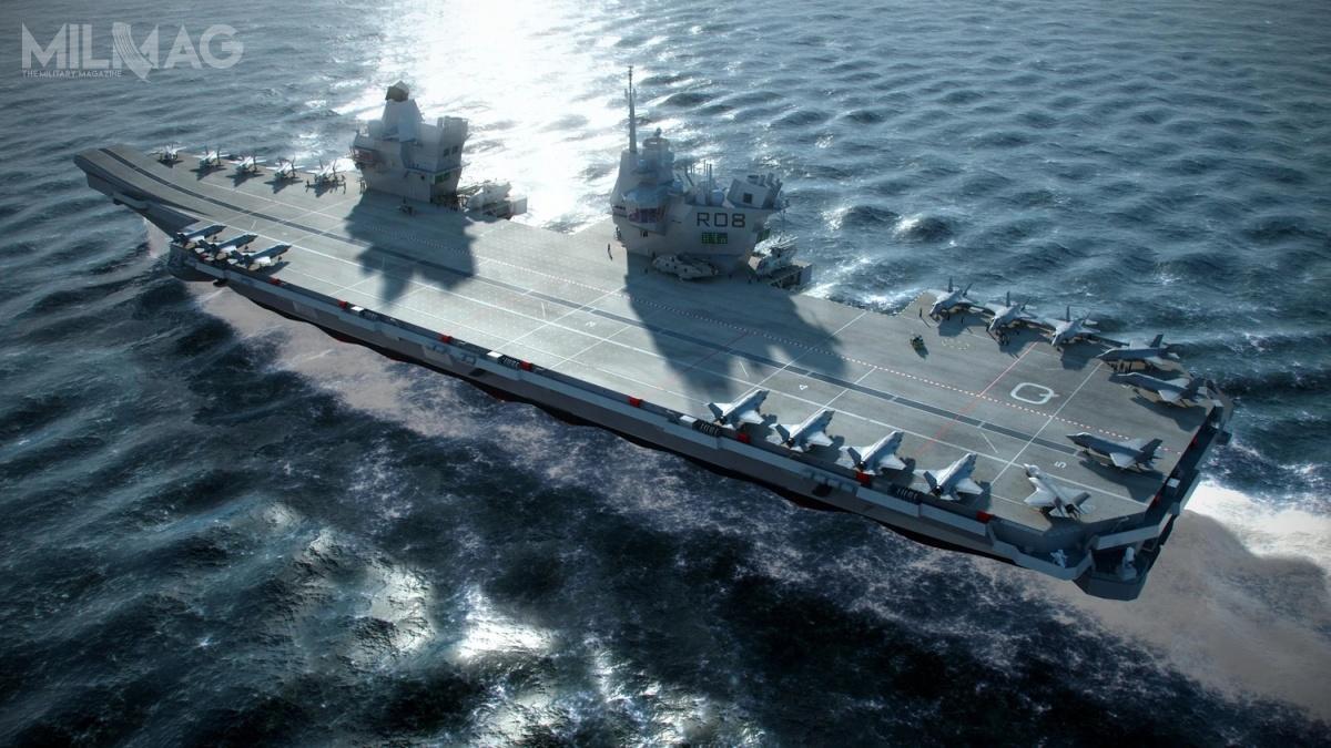 Konsorcjum Aircraft Carrier Alliance zbudowało dla Royal Navy dwa lotniskowce typu Queen Elizabeth. HMS Queen Elizabeth (R08) wszedł dosłużby 7grudnia 2017. Równoczesne prace wykończeniowe naHMS Prince of Wales (R09) dobiegają końca / Grafika: Royal Navy.