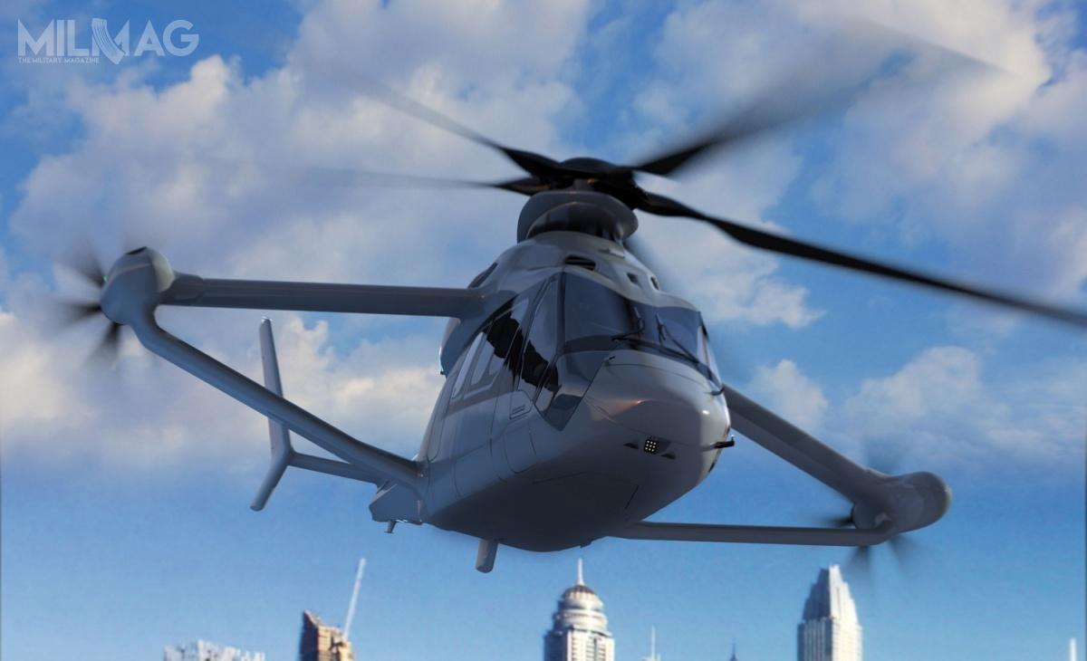 Koncepcja śmigłowca RACER została zaprezentowana wczerwcu 2017 podczas paryskiej wystawy lotniczej. Jego zmilitaryzowana wersja będzie wymagać zapewne wielu modyfikacji wzakresie przenoszenia uzbrojenia, zabezpieczonej łączności, wyposażenia dowalki radioelektronicznej iprowadzenia rozpoznania czyredukcji sygnatury radarowej itermicznej / Grafika: Airbus Helicopters