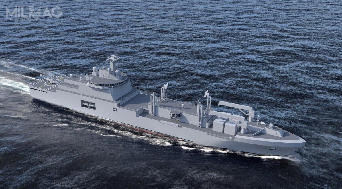 Armaty przeciwlotnicze RapidFire T40AA wejdą nauzbrojenie czterech okrętów zaopatrzeniowych nowej generacji, którychprojekt bazuje nawłoskich jednostkach typu Vulcano / Grafika: Chantiers de l'Atlantique