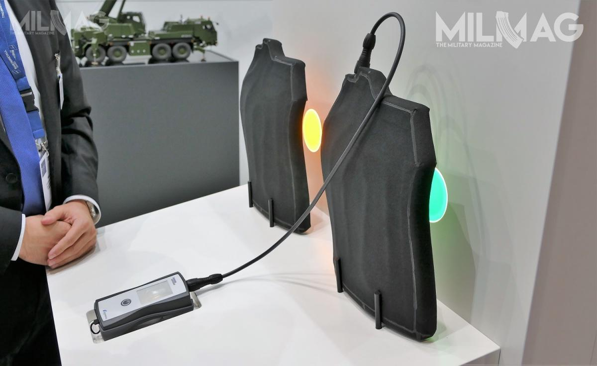 Sensing Armour plates as premiered in London. These plates are equipped with an electronic device which allows for instant check of armor`s condition / Photo: Remigiusz Wilk