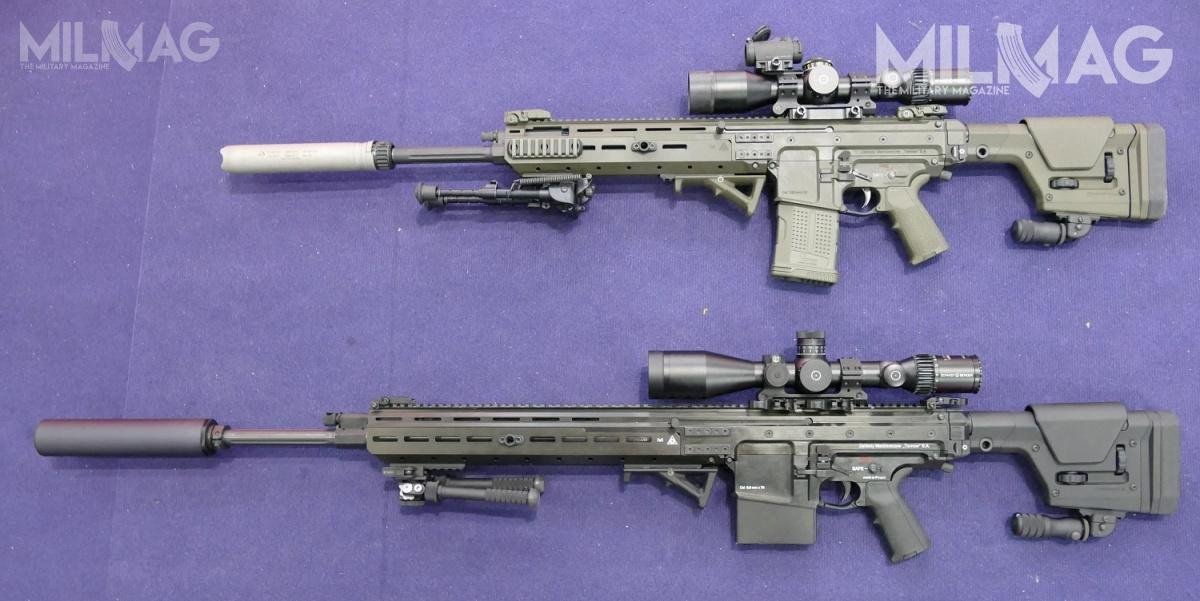 Comparison photo of the 20-inch barrel SKW308 (above) and a 24-inch barrel SKW338 (below). The first one uses 7.62 x 51 mm round, while the latter shoots 8.6 x 70 mm ammunition.