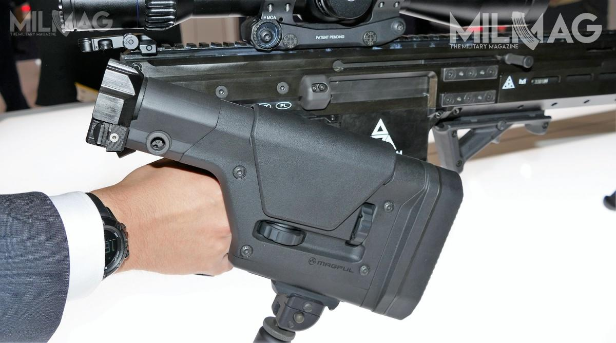 Unlike in AR systems, lower receiver does not contain the return spring sleeve. This allows for folding stock.
