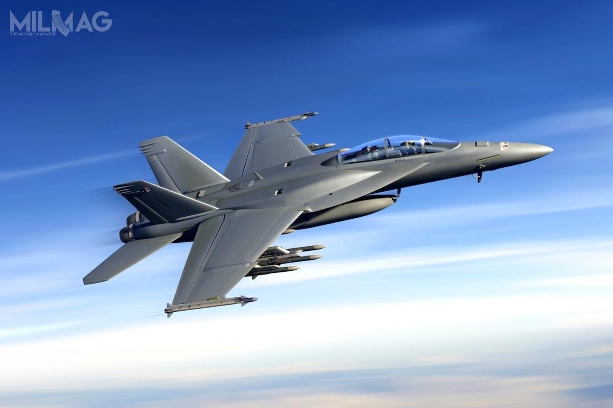 Docelowo zasobnik zIRST Block II wejdzie nawyposażenie zmodyfikowanych samolotów F/A-18E/F Super Hornet Block III / Zdjęcie igrafika: Boeing