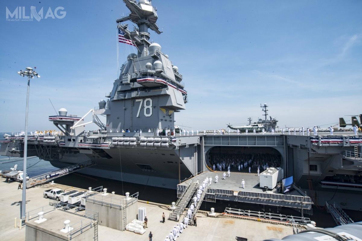 Lotniskowiec USS Gerald R. Ford (CVN-78) przechodzi poprawki wstoczni Newport News Shipbuilding ijesienią 2019 zostanie przekazany marynarce wojennej. / Zdjęcie: US Navy