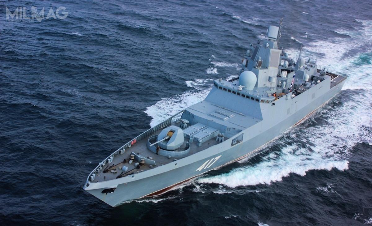 Fregaty proj. 22350 mają po135 m długości, 16 m szerokości, 4,5 m zanurzenia i5400 t pełnej wyporności. Standardowe uzbrojenie składa się ze130-mm armaty automatycznej A-192M, 16 uniwersalnych wyrzutni pionowego startu 3S14 UKSK dla pocisków P-800 lub/i Kalibr, 32 wyrzutnie rakiet dla pocisków 9M96, 9M96M, 9M96D/9M96DM(M2) zrodziny Redut lub 9M100, dwa moduły artyleryjsko-rakietowe obrony bezpośredniej 3R89 Pałasz, 8wyrzutni 330-mm torped Pakiet-NK orazdwa 14,5-mm obrotowe wkm MTPU