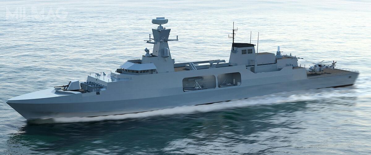 Koncepcja Leander tookręt odługości 117 m, szerokości 14,6 m, zanurzeniu 4,5 m iwyporności  3677 t. Załogę ma stanowić mniej niż 120 oficerów imarynarzy. Dwa silniki wysokoprężne omocy 9,1 MW zapewnią zasięg około 7600 mil morskich przy prędkości 16 w. Okręt będzie zdolny przyjąć 16-tonowy śmigłowiec, 8kontenerów misji standardu ISO lub 4łodzie hybrydowe RHIB. Uzbrojenie przeciwlotnicze będzie stanowić 12 pocisków Sea Ceptor wośmiu wyrzutniach. /Grafika: BAE Systems