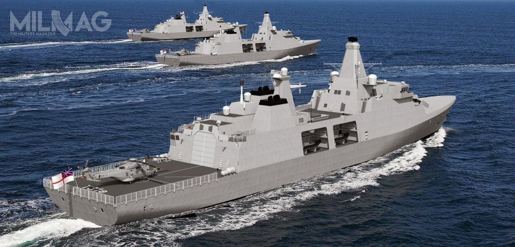 Koncepcja Arrowhead 140 ma zakładać okręt odługości 138,7 m, szerokości 19,8 m, zanurzenia 4,8 m iwyporności 5700 t. Załogę ma stanowić do100 oficerów imarynarzy, anapokładzie znajdzie się miejsce dla 60 marines. Cztery silniki wysokoprężne omocy 32,8 MW zapewnią zasięg do9300 mil morskich przy prędkości 18 w. Okręt przyjmie 15-tonowy śmigłowiec, atakże cztery łodzie RHIB/kontenery ISO. Uzbrojenie p-lot. to24 pociski Sea Ceptor zmożliwością zwiększenia do32. /Grafika: Team 31