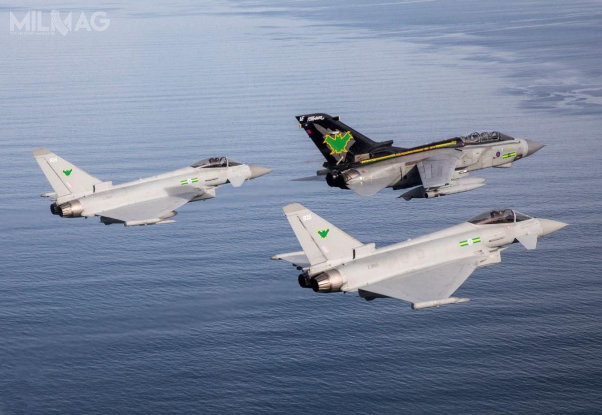 Samoloty myśliwsko-bombowe Panavia Tornado GR4 zostały wycofane 29 marca 2019. Wraz znimi rozwiązano 9. Eskadrę RAF isformowano myśliwską otym samym numerze. /Zdjęcia: RAF