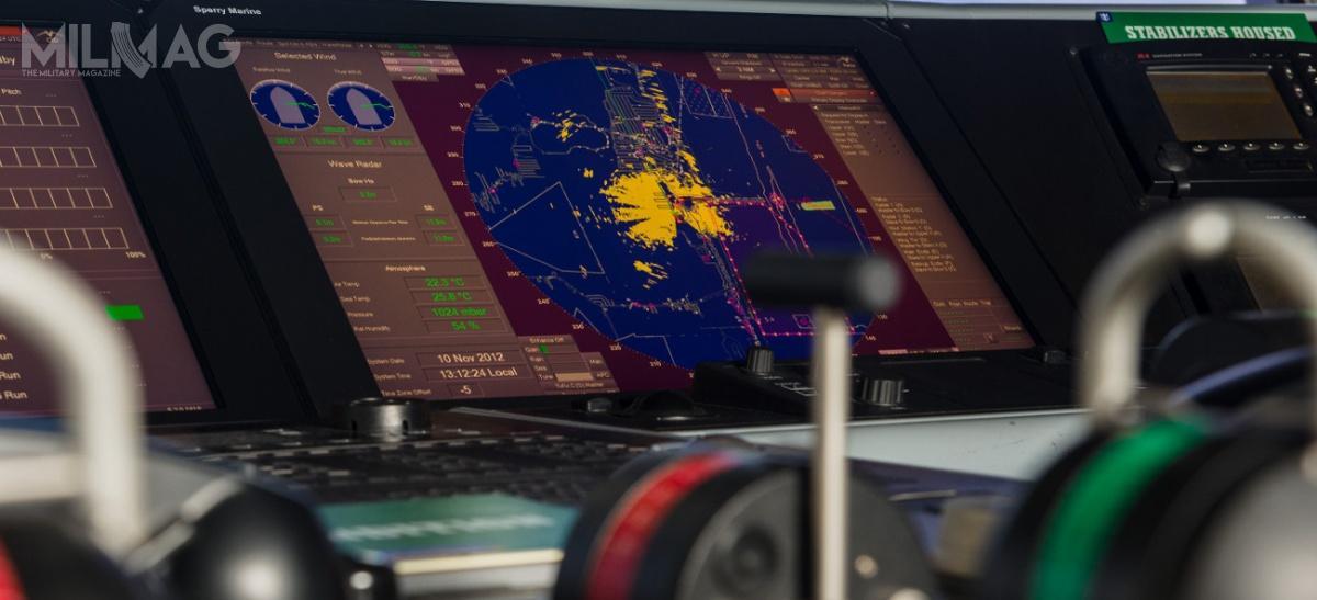 Operator VisionMaster FT ma dodyspozycji wysokiej rozdzielczości ekran panoramiczny, któryzapewnia 360-stopniowy widok zdwóch niezależnych radarów.