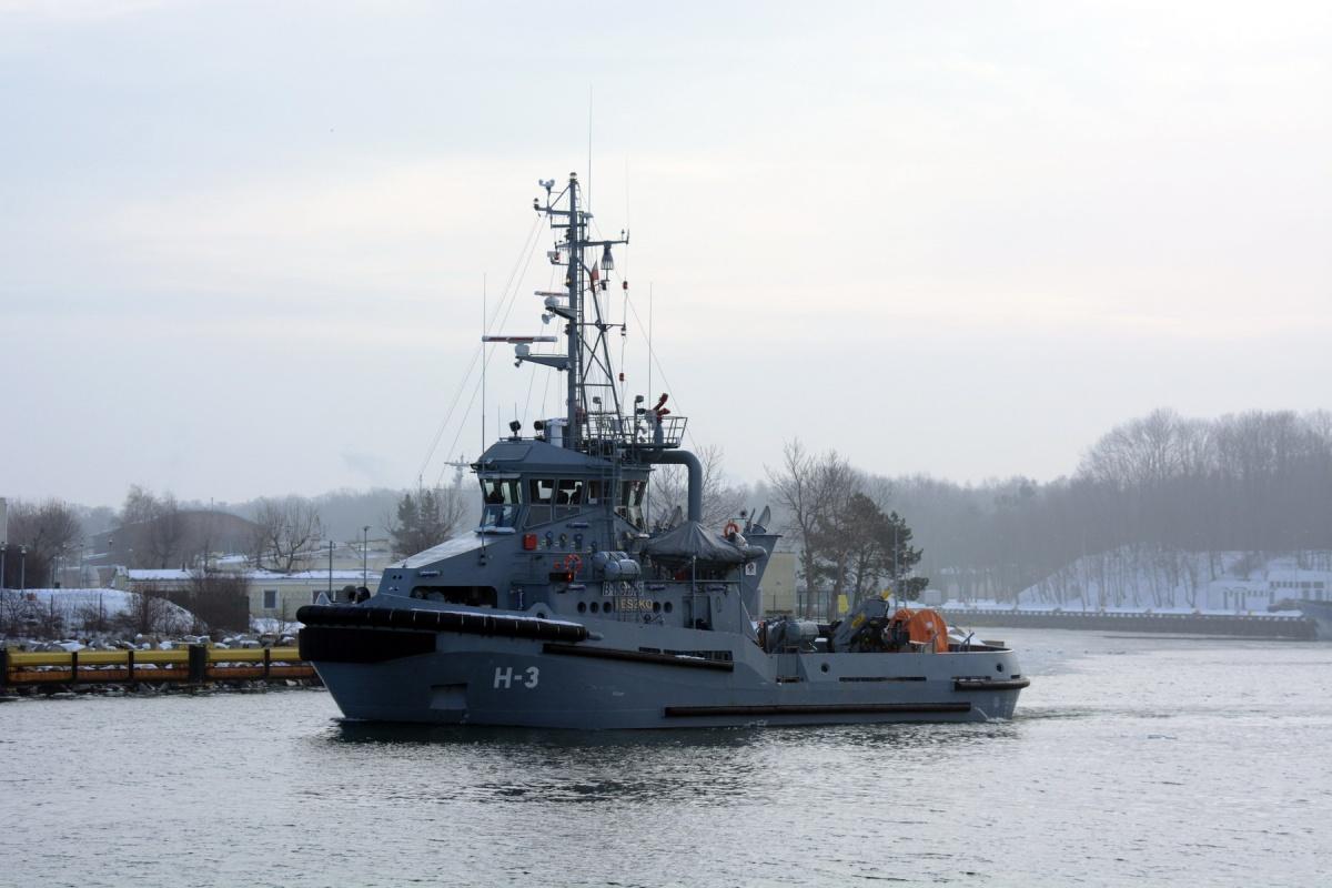 Holownik H-3 wtrakcie jednego zwyjść wmorze wramach prób zdawczo-odbiorczych.