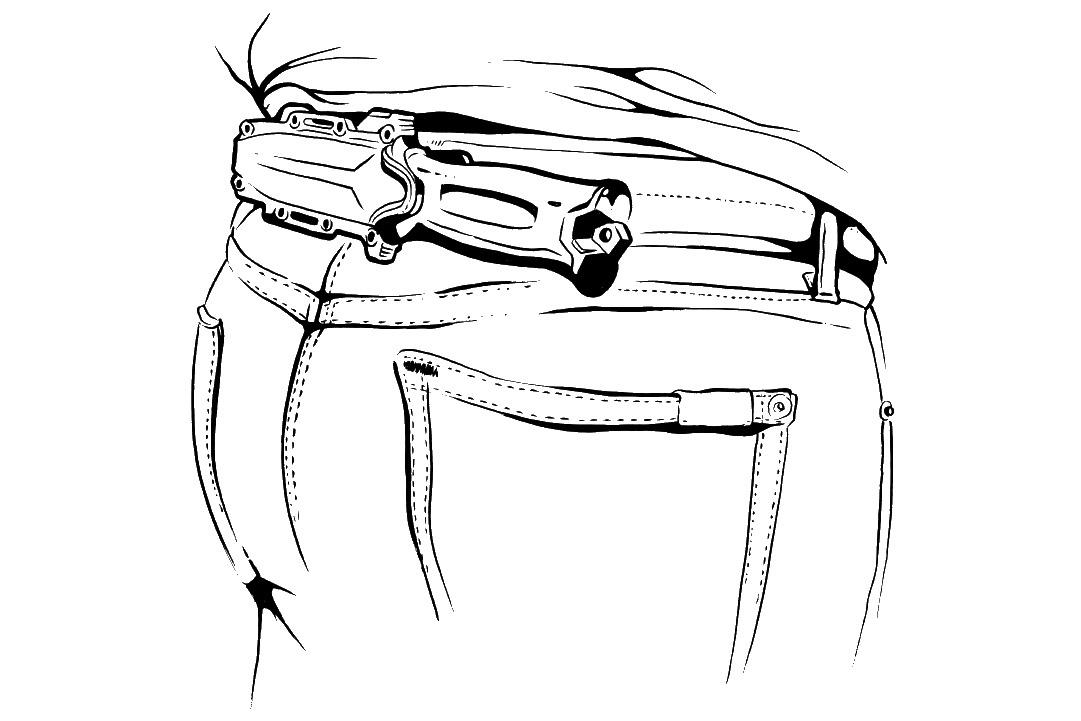 Pochewkę Strongarm można dopiąć poziomo dopasa, przy pomocy załączonego dozestawu adaptera